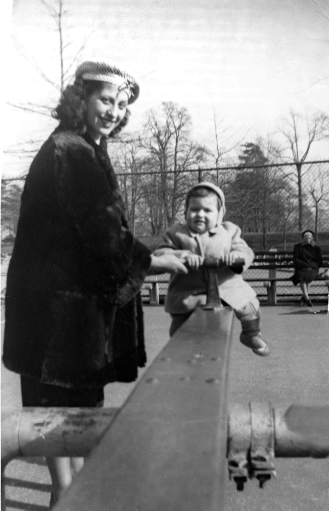 My mother and me in the playground circa 1950 by Larry Racioppo