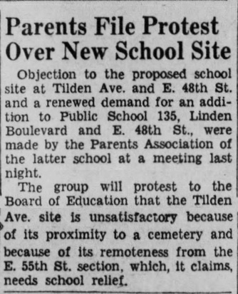 Brooklyn Daily Eagle clipping of article about disagreement over new school location.