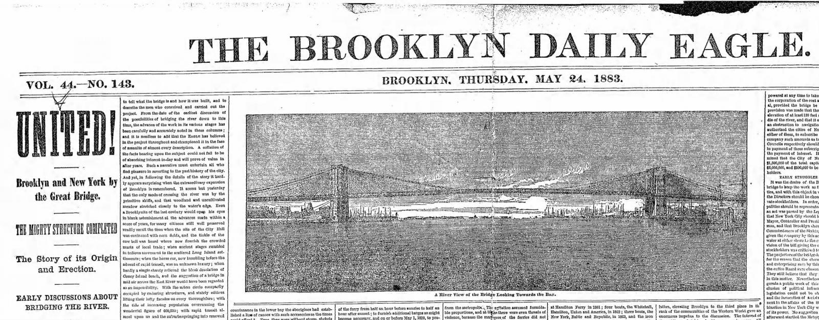 front page of the Brooklyn Eagle on opening day of the Brooklyn Bridge, 1883