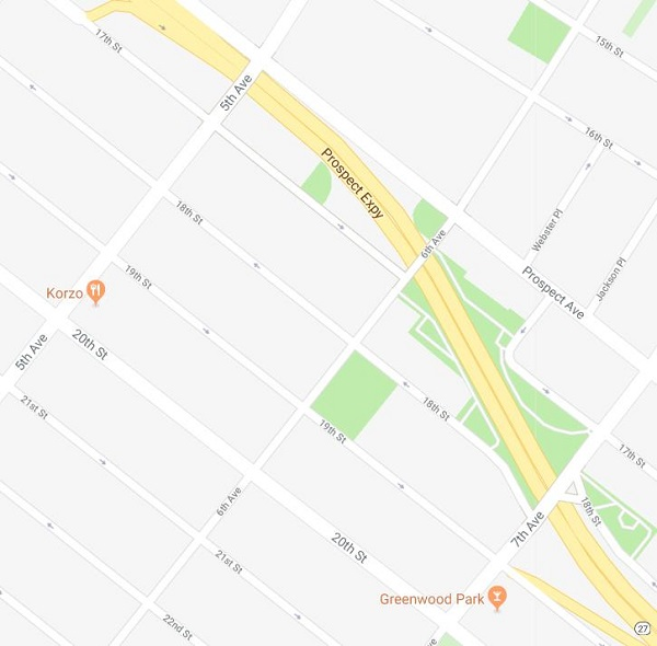 Google map view of the area around MS88 in Park Slope