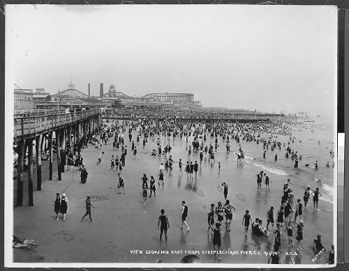 Rutter, Edgar E. Coney Island Beach and Bathers. 1919. The Brooklyn Collection, Brooklyn Public Library.