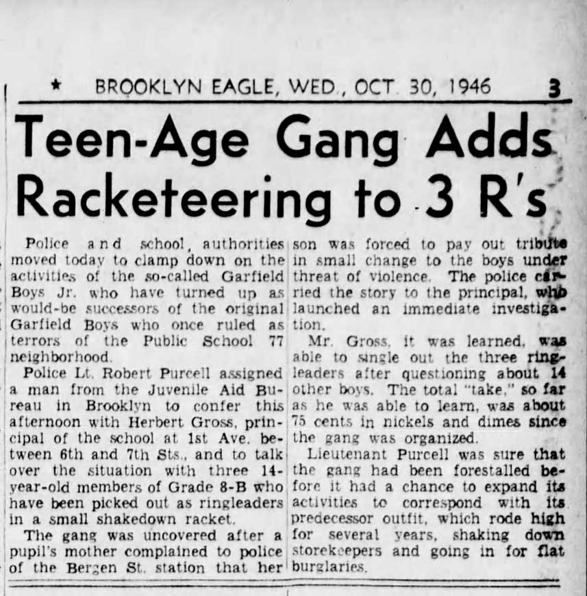 Teenage gang adds racketeering to the three Rs