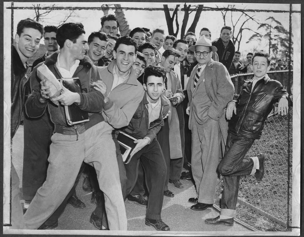 Unidentified students and teacher at Brooklyn Technical High School, 1950