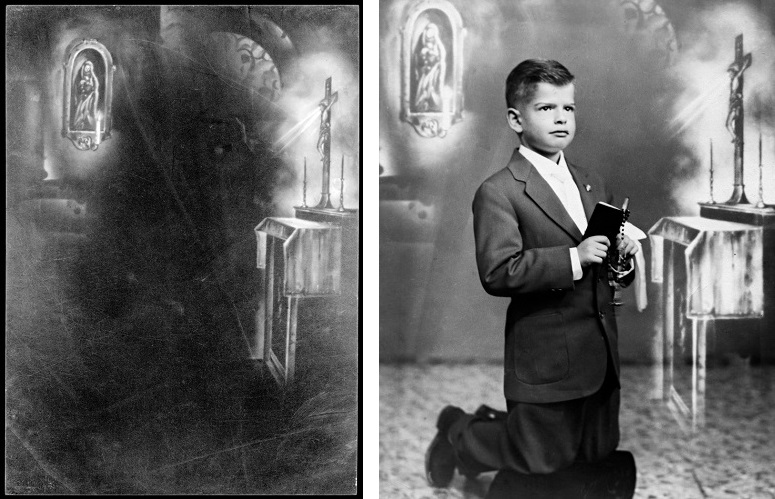 My cousin Joe A., circa 1955 and film with religious drawing, 2018