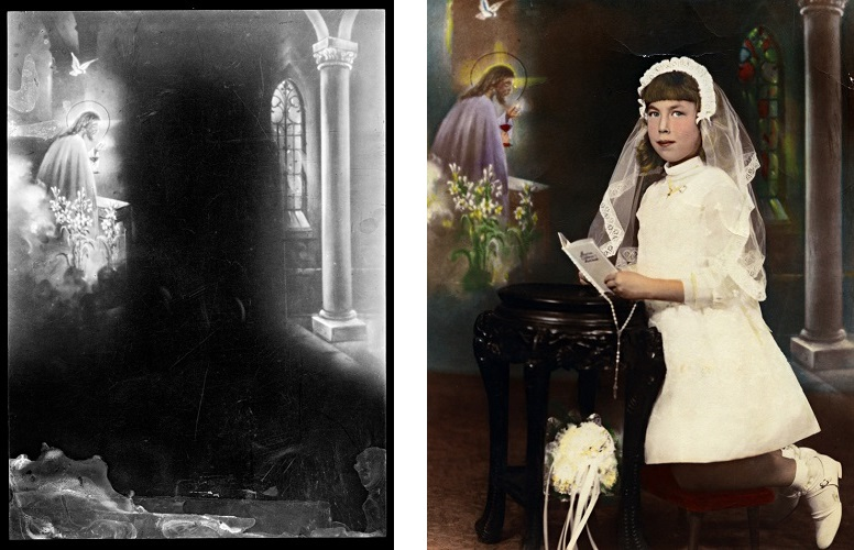 My cousin Kathy T., circa 1965 and film with religious drawing, 2018