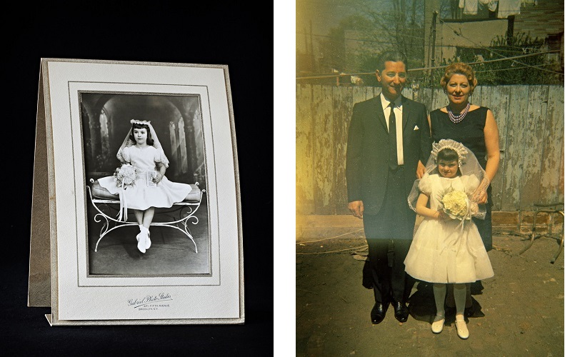 My cousin Marilyn's Communion photo, circa 1964 and Marilyn with her parents, 18th Street, circa 1964
