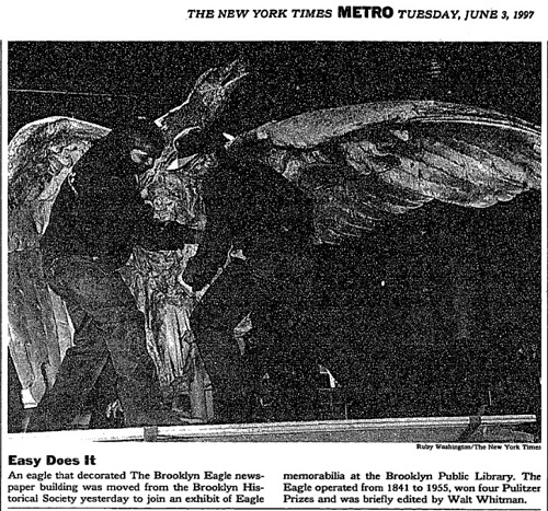 Eagle sculpture being moved from the Brooklyn Historical Society, New York Times June 3rd 1997