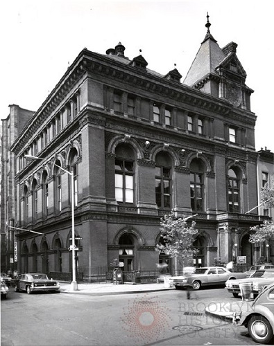 Brooklyn Historical Society exterior with eagle sculpture, 1966-67