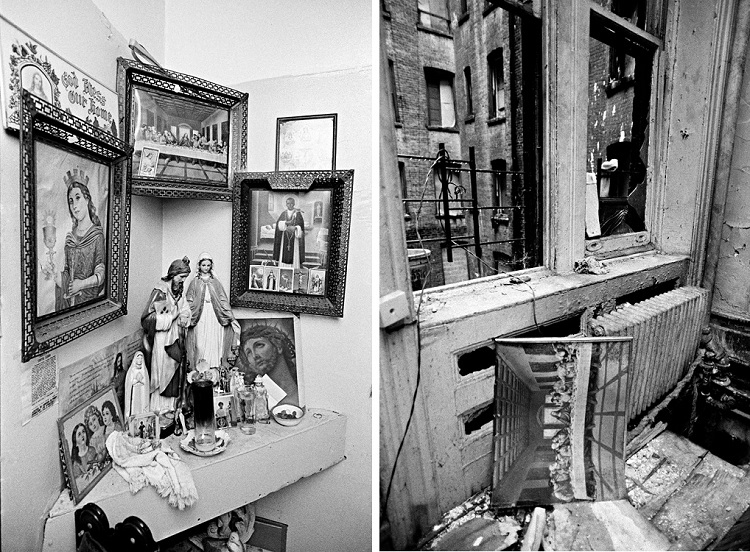 L: Corner altar, Bronx, 1994; R: Abandoned apartment, West 111th Street, Manhattan, 2004
