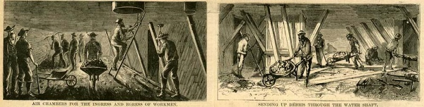 images of East River Bridge construction, Harper's Weekly 1870