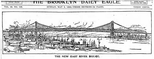 Brooklyn Daily Eagle illustration of new east river bridge.
