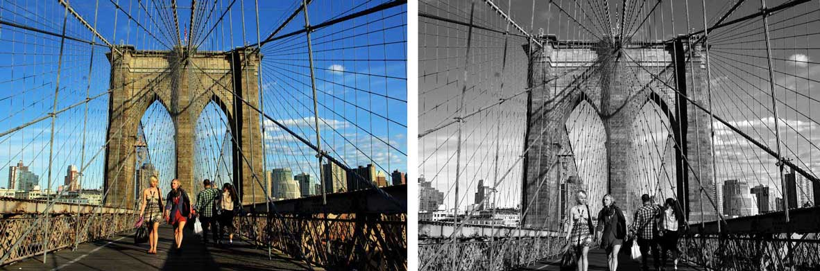 The Brooklyn Bridge in color and monochrome