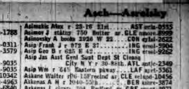 1928 phone directory listing showing Asimov, J stationary store at 750 Sutter Avenue