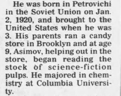 Text from Asimov's obit regarding reading pulp in the candy store