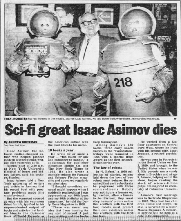 NY Daily News obituary for Issac Asimov