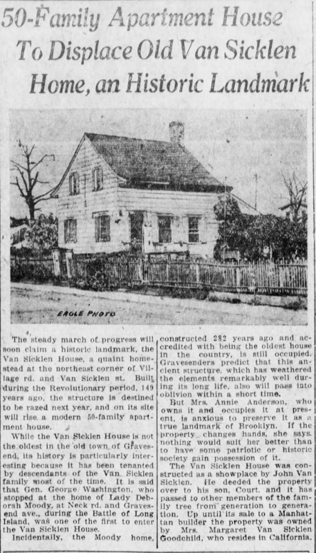 Newspaper article about Van Sicklen House