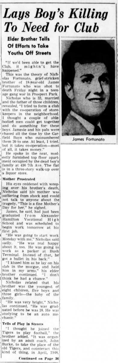 The death of Tiger James Fortunato - Brooklyn Daily Eagle, May 14, 1950