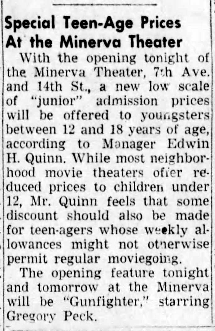 Special teen prices at Minerva Theater - Brooklyn Daily Eagle, Oct. 6, 1950