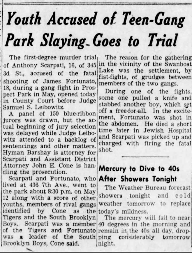 Youth accused of teen-gang park slaying, goes to trial - Brooklyn Daily Eagle - Nov. 20, 1950, p. 3