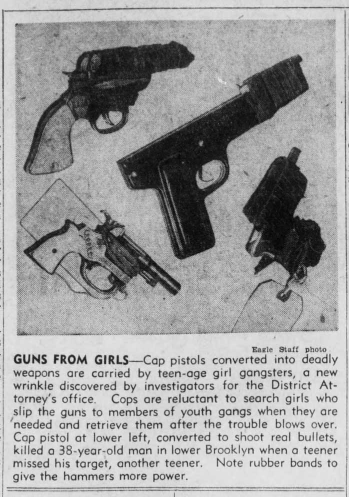 Photo of various guns seized from gangs - Excerpted from Brooklyn Daily Eagle - Apr. 10, 1949