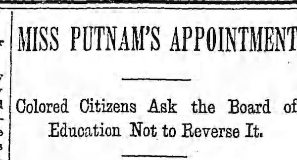 headline from newspaper article about appointment of Miss. Putnam