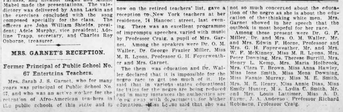 1907 newspaper article about Sarah J. Smith Garnet