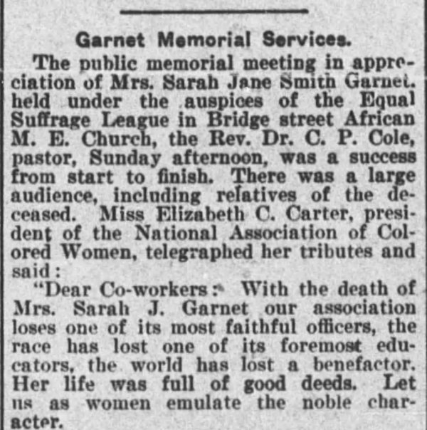 newspaper article about Garnet's memorial service