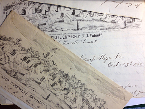 letterhead and envelope printed with drawing of Camp Wisewell, 28th regiment, NY.