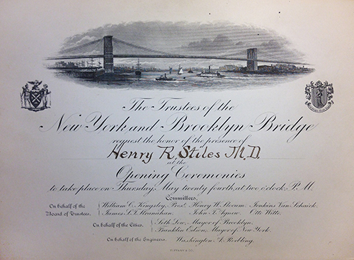 Stiles' Invitation to opening ceremonies for Brooklyn Bridge