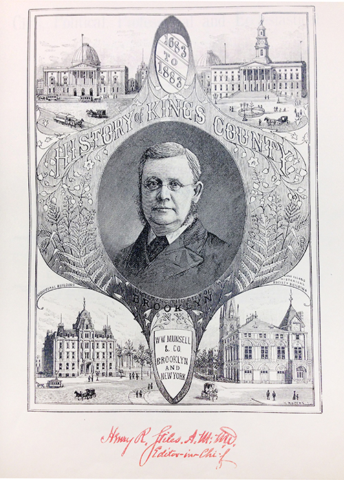 Engraved portrait of man surrounded by Brooklyn landmarks.