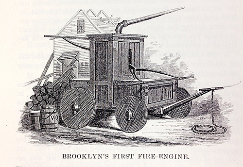 Engraving of wheeled wooden cart with pump hose