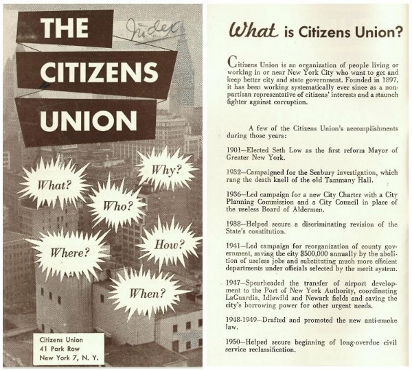 Brochure from the Citizens Union