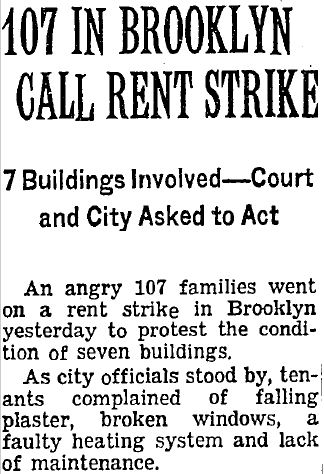 Rent Strike newspaper article