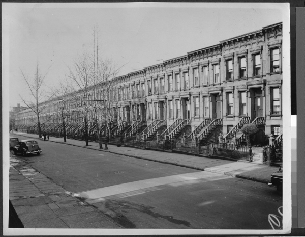Photograph of brownstones in Park Slope.