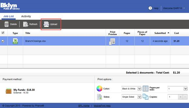 After Logging On Successfully You Will See The Print Anywhere Portal Click Upload Button And Browse To Where Your Documents Are Stored