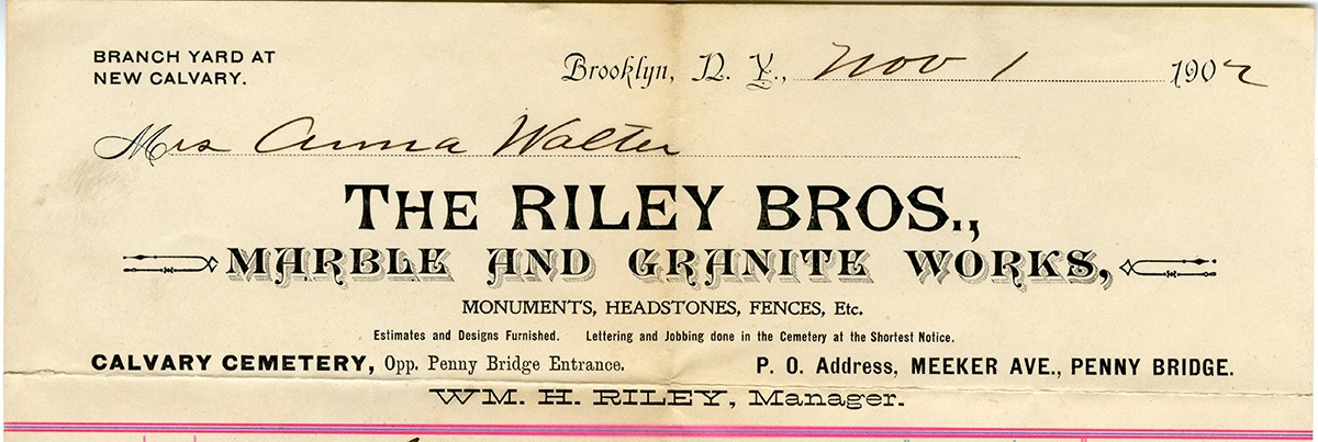 Letterhead from The Riley Brothers Marble and Granite Works