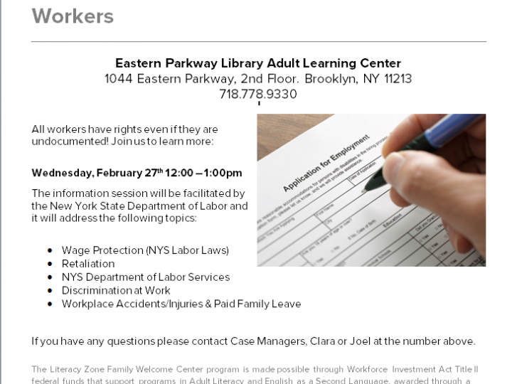 Learn About Your Rights: Information Session for New York State Workers |  Brooklyn Public Library