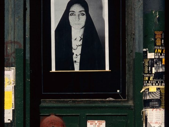 Shirin Neshat, Unveiling: Face to Face, April 2–May 1, 1993 Photograph by Marty Heitner Collection of Franklin Furnace Archive, Inc.