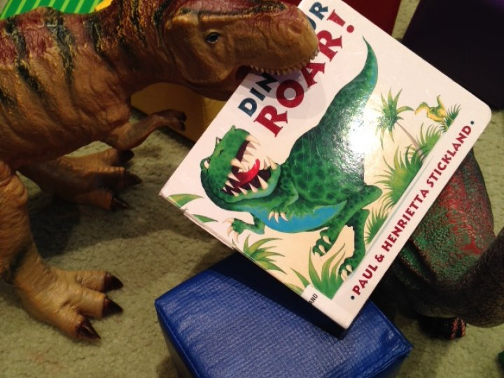 Dinosaur toy and dinosaur book