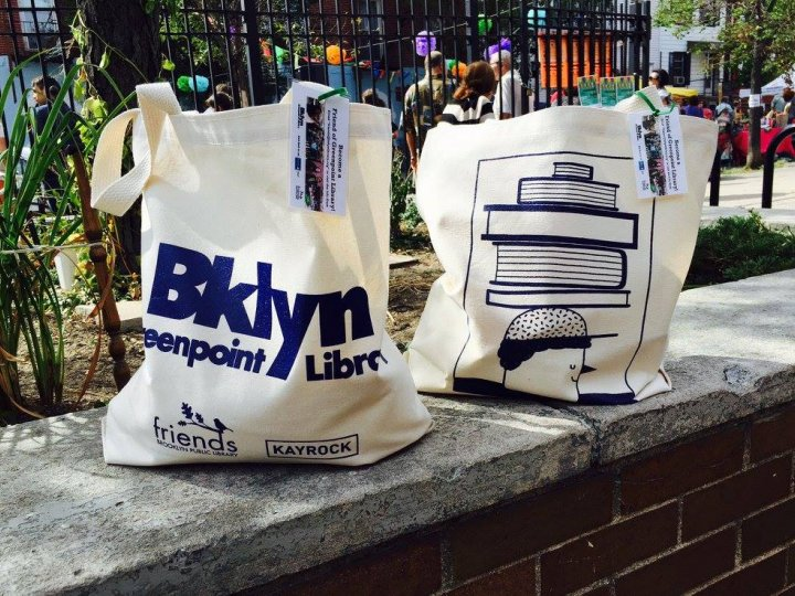 Tote bags created by Friends of Greenpoint Library