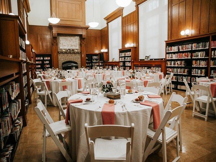 White wedding tables on floor