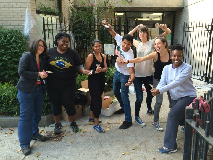 The Brooklyn Eagles service project at Clinton Hill Library.