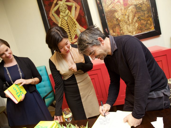 Joseph O'Neill signs copies of his book The Dog