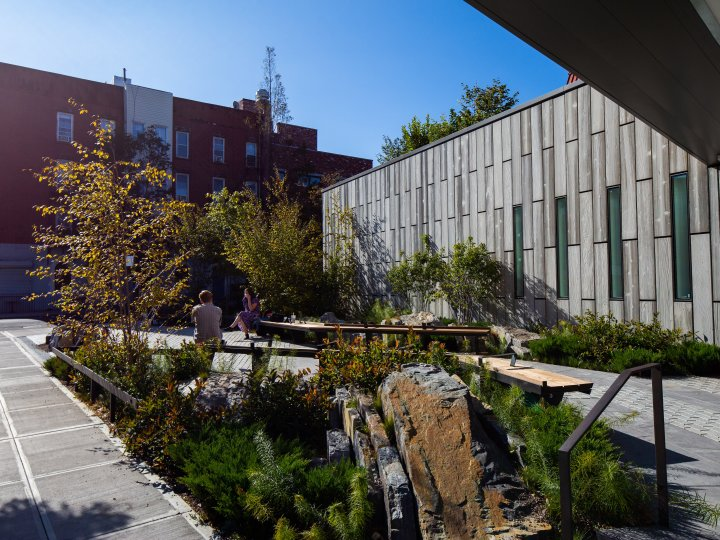 Detail view of Greenpoint Library's garden, rock outcropping and bioswale in foreground, benches in background