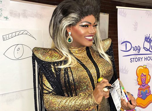 Drag queen teaching makeup class