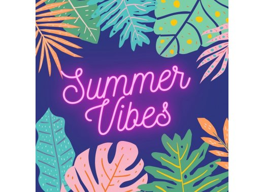 summer vibes in neon with surrounding tropical leaves
