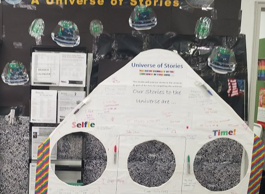 Summer Reading Display - Our Stories to the Universe Shuttle