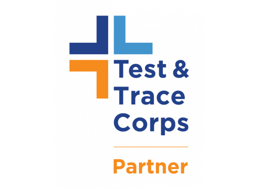 Logo reading Test and Trace Corp Partner. Black background with a T logo and text in blue and orange.