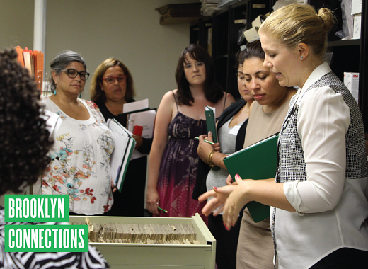 Teachers tour the Brooklyn Collection Morgue. Archvist explains use and storage of Brooklyn Eagle newsclippings