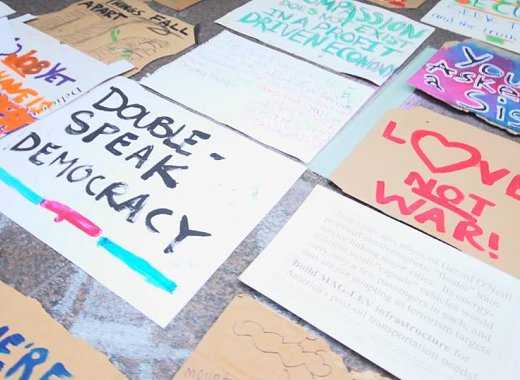 Protest signs used in Occupy Wall Street demonstrations